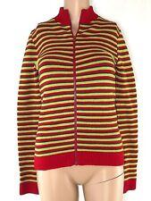 maglioncino donna zip rosso verde righe lana made italy stretch taglia s small