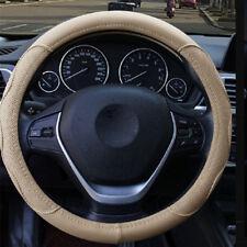"Universal Embossed 15""/38cm Car Steering Wheel Cover Protector Beige PU Leather"