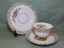 Vintage Rosina Bone China Trio Tea Cup Patt. 3169 Pink Rose & Gilt (Lot B)