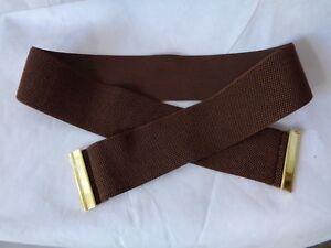 """Ralph Lauren Women's 2.5"""" Brown Belt Beveled Sliding Interlock Stretch Strap NWT"""