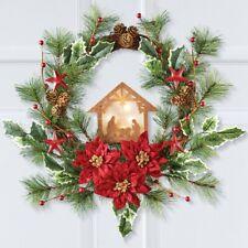 Primitive Pine & Poinsettia Lighted Christmas Nativity Scene Door Wreath
