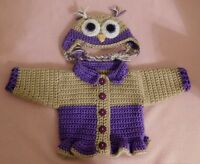 American Girl Sweater Doll Clothes Purple Owl Sweater Hat Fits American Girl 18""