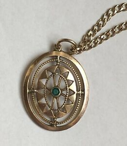9kt yellow gold - Necklace and Pendant with Emerald