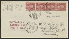 1933 AAMC #3307d Detroit Air Mail Field to London Ont, US CAM No 27