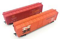 HO Scale Train A.T.S.F. 49277 & New Haven 35688 Box Car Train Model - Lot of 2