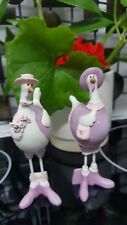 Landon Tyler Natural Interiors Handcrafted Collectable 2 x Chickens Decoration