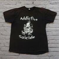 Vintage 00s Addictive Suicide Band Tshirt Size L XL Black Trash Speed Metal