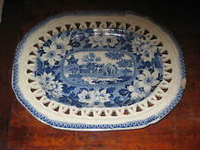 ROGERS BLUE & WHITE FRETTED UNDER DISH/ STAND ELEPHANT FLOWERS EARLY 19 CENTURY