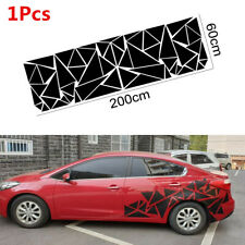 1X 200x60cm Car Body Side Glossy Geometric Triangle Graphics Decal Sticker Black