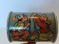 Duck and Dachshund Dog Tin Lithograph Noisemaker Party Toy Clowns Rattle Vintage