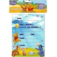 WINNIE THE POOH INVITATIONS PACK OF 8 PARTY INVITES
