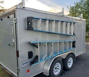 Aluminum Mountainpeak Adjustable Roof Ladder Rack Bracket Kit Fit for Enclosed or Open Trailer Van Cargo