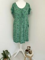 Mantaray Debenhams Dress Size 10 Green Leaf Print Pockets Short Sleeve Button