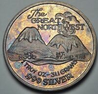 """UNC BU SILVER TRADE UNIT """"THE GREAT NORTHWEST"""" VINTAGE ROUND COLOR TONED (DR)"""