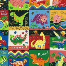 Fat Quarter Dinosaur Dance Squares Cotton Quilting Fabric Nutex 87550 104