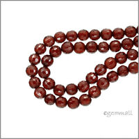 Cubic Zirconia Faceted Round Beads 8mm Dark Red  8pc #64724
