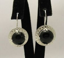STERLING SILVER EARRINGS 925 NATURAL BLACK ONYX NEW