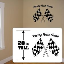 Racing Team sticker, Checkered Flag stickers, Checkered flag racing decal vinyl
