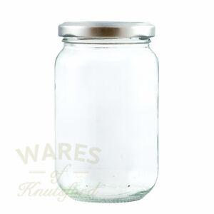Jam Jars, 1lb, 370ml, FSA approved x 56, glass jam jars & silver lids