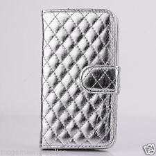 """Metallic Silver Stitched Wallet Case Credit Card Slots & Stand for iPhone 6 4.7"""""""