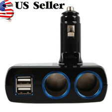 2 Way Charger Adapter Dual USB Port Car Cigarette Lighter Socket Splitter Led US
