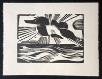 Heinrich Stegemann, Sonne überm Meer, Holzdruck aus dem Nachlass, 1996