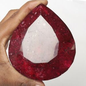 Large Natural Pear Cut Red Ruby 2850 Ct. Faceted Red Ruby Loose Gemstone FJ-938