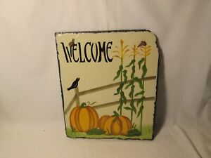 """Fall Season Outdoor House Plaque 12"""" Painted Slate New"""