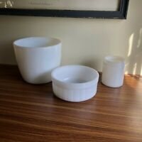 White Milk Glass Opaque Lot of 3 Federal Cereal Bowl Atlas Mixing Bowl and Jar