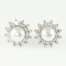 Sterling Silver Freshwater Pearl and Cubic Zirconia Cluster Earrings