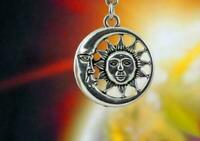 "CRESCENT CELESTIAL SUN MOON pendant Sterling Silver 925 18"" necklace female"