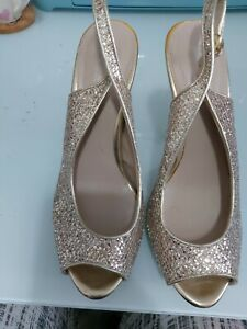 Beautiful NEXT PWide Fit Gold Glitter High Heeled Shoes SIZE 6