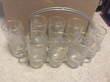 Set of 8 Antique Drinking Glasses with Gold Leaves and Grapes with Carrier