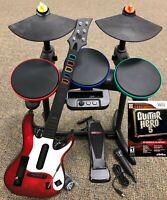 Guitar Hero 5 Super Bundle BAND SET Kit Drums+Mic+Guitar Game Nintendo Wii Wii-U