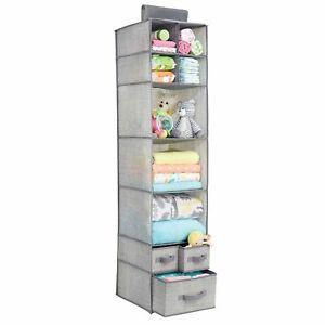 mDesign Over Closet Rod Nursery Storage Organizer with Drawers - Gray