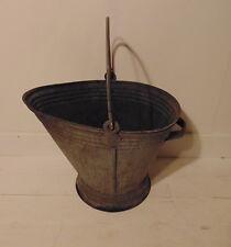 Vintage Industrial galvanized metal bucket coal kohle pellet 1950's 1960's