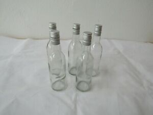 5 X Empty Glass Small Wine Bottles Aprox 187ml MetalTop Home Brew/upcycle/lights