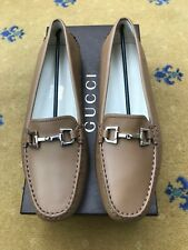 New Gucci Womens Tan Brown Leather Horsebit Loafer Drivers UK 5.5 US 8 38 Ladies