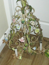 Antique VINTAGE Italian TOLE Metal Porcelain Flowers Roses  5 Light Chandelier