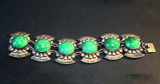 Best Mexico Chunky Malachite Cabochon Wide Sterling Silver Bracelet Signed Parra