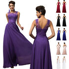 PLUS SIZE 22 24 26 Long BEADED Bridesmaid Wedding Evening Prom Gown Party Dress