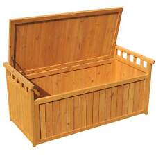 Outdoor Garden Fir Storage Bench Wooden Box Seat Logs Toys Winter Tools Store