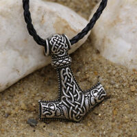 Men Nordic Viking Mjolnir Wolf Pendant Leather Cord Myth Thor's Hammer Necklace