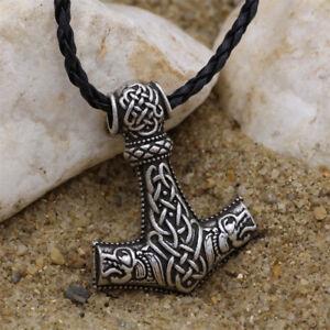 Men Nordic Viking Mjolnir Wolf Pendant Leather Cord Myth Thor's Hammer Necklace