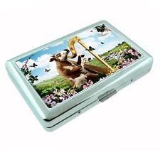 Funny Cow Metal Silver Cigarette Case D2 Playing Harp Garden Butterflies