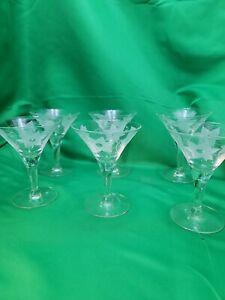 Vintage Etched Martini glasses- set of 6