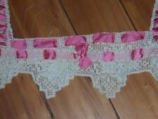Victorian Yoke hand crocheted with pink satin trim Great Condition Antique