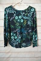 H & M Top Size Medium 10 12 Us 8 Black Green Blue Floral Tunic