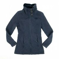 The North Face Women's Jacket Full Zip Quilted Mock Neck Fuzzy Lining Blue Sz XS