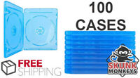 (100) Bluray Replacement Cases 12mm 2 Disc Double W/ Logo Premium Movie Storage